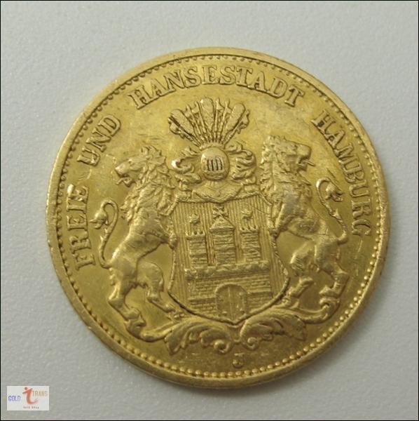 Kaiserreich 20 Goldmark Hamburg Goldmünzen Kaufen Goldtrans